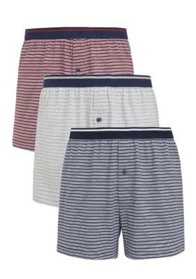 F&F 3 Pack of Striped Jersey Boxer Shorts with As New Technology L Grey, Blue & Red
