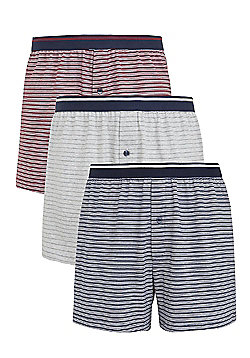 F&F 3 Pack of Striped Jersey Boxer Shorts with As New Technology - Grey, Blue & Red