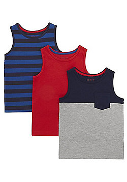 F&F 3 Pack of Plain and Striped Vest Tops - Red/Navy
