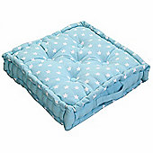 Homescapes Cotton Blue Stars Floor Cushion, 40 x 40 cm