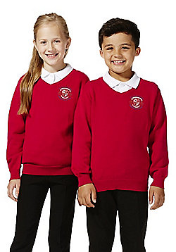 Unisex Embroidered V-Neck Cotton School Jumper with As New Technology - Red