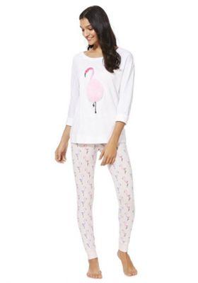 F&F Flamingo Faux Fur Pyjamas White 12-14