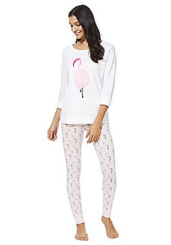 F&F Flamingo Faux Fur Pyjamas - White