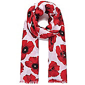 Red and White Poppy Print Twill Scarf