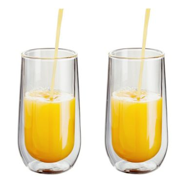 Judge Borosilicate Glass Double Walled Heat Resistant Glass Hiball Glasses Set of 2 330ml