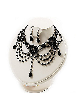 Black Gothic Costume Choker Necklace And Earring Set