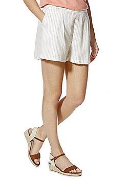 F&F Striped Linen Blend Shorts - White & Navy