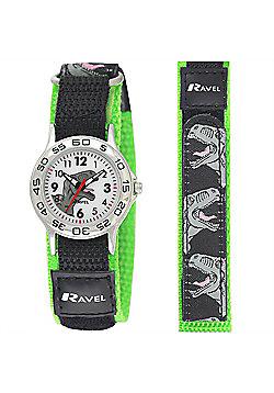 Black and Green Velcro Strap Dinosaur Watch