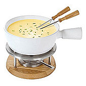 Boska Ceramic Bianca Fondue Set in White and Oak, 4 Person 340029