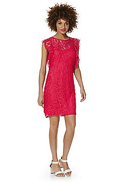 Vero Moda Lace Overlay Frill Sleeve Dress - Coral