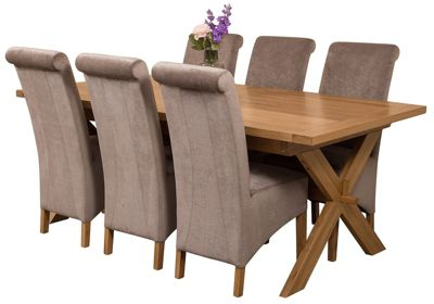 Vermont Extending Kitchen Solid Oak Dining Set Table + 6 Grey Fabric Chairs