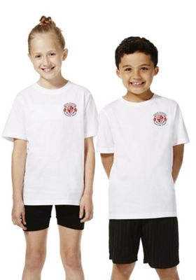 Unisex Embroidered School T-Shirt 8-9 years White