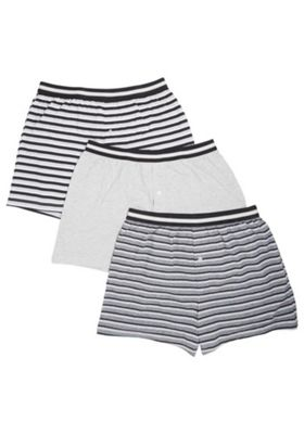 F&F 3 Pack of Striped Boxers with As New Technology Grey Marl L