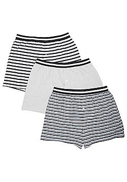F&F 3 Pack of Striped Boxers with As New Technology - Grey marl