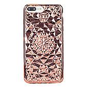 iPhone 8 Plus TPU Metallic Molded Geometric Pattern Slim Case - Pink