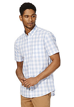 F&F Buffalo Check Short Sleeve Shirt - Blue