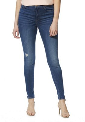 F&F Contour Distressed High Rise Skinny Jeans Mid Wash 14 Long leg