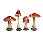 Set of Four Coloured Resin Mushroom or Toadstool Garden Ornaments