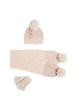 F&F Sparkle Knit Scarf, Hat and Gloves Set - Beige