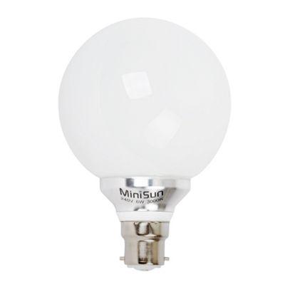 6w BC LED Globe Decor Bulb 3000K 580lm 20000 hours