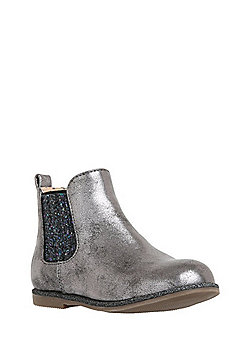 F&F Glitter Panel Chelsea Boots - Pewter