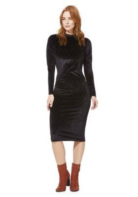 Vila Diamond Burnout Velvet High Neck Dress Black XL