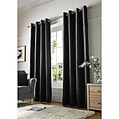 Alan Symonds Chenille Eyelet Curtains - Black