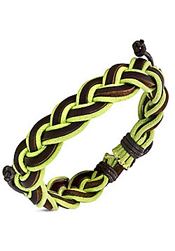 Urban Male 'Tropic' Braided Men's Green Cord & Brown Leather Surfer Bracelet