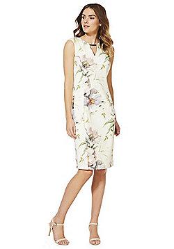 Roman Originals Floral Print Keyhole Neck Dress - Cream multi