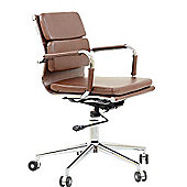 Chester Faux Leather Padded Office Chair Vintage Brown