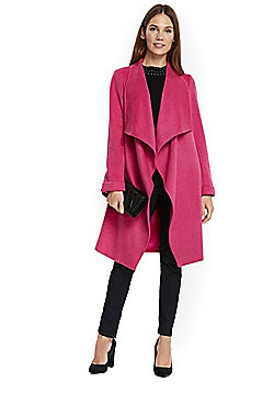 Wallis Drawn Waterfall Coat - Fuchsia