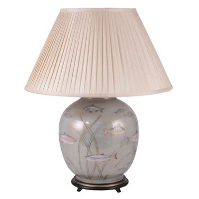 Large Round Glass Table Lamp Decorated Fish Distressed Gold/Light Blue