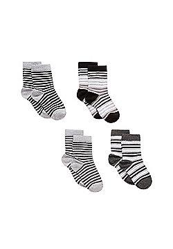 B Baby Newborn Boy's Grey and Black Stripy Socks - 4 Pack Size 1-2 years