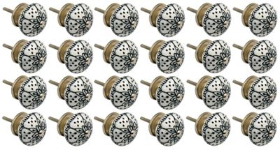 Ceramic Cupboard Drawer Knobs - Floral Design - White / Black - Pack Of 24