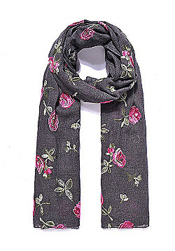 Dark Grey Rose Embroidered Scarf