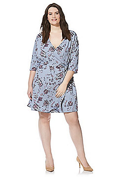 Junarose Floral Print Plus Size Wrap Dress - Blue