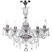 Litecraft Venice 5 Bulb Glass Droplet Semi Flush Chandelier, Chrome