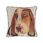 McAlister Printed Basset Dog Cushion - Wool Look