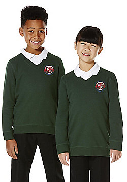 Unisex Embroidered V-Neck School Sweatshirt with As New Technology - Green