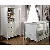 Obaby Stamford 2 Piece Cot Bed/Wardrobe + Sprung Mattress - White