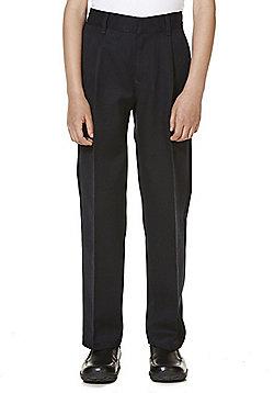 "F&F School 2 Pack of Boys Teflon EcoElite""™ Flat Front Slim Leg Trousers - Navy"