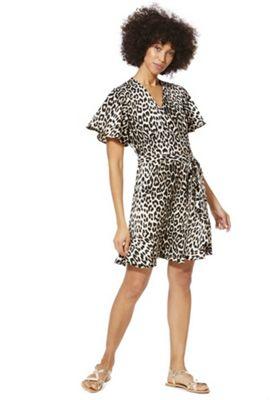F&F Animal Print Wrap Dress Multi 22