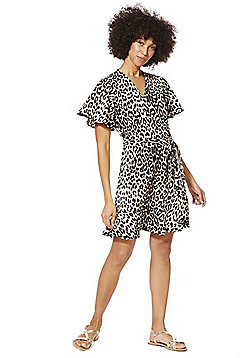 F&F Animal Print Wrap Dress - Multi
