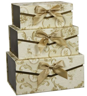 Set of 3 Floral Gold Ribbon Storage Boxes