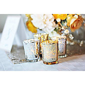 "Artis Mercury Glass Votive Candle Tealight Holder 2.75""H Set of 12 Speckled Gold for Weddings, Parties and Home Decor"