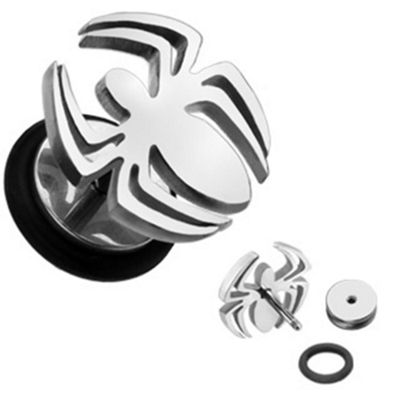 Urban Male Surgical Stainless Steel Fake Spider Ear Stretching Flesh Plug