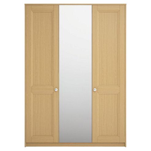 Adria Tall Oak Triple Wardrobe With Tall Oak Shaker And Mirror Doors