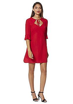 Fashion Union Flute Sleeve Shift Dress - Red