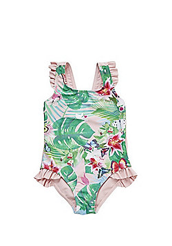 F&F Floral Ruffle Trim Swimsuit - Pink Multi