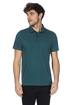 F&F Signature Geometric Print Polo Shirt - Teal